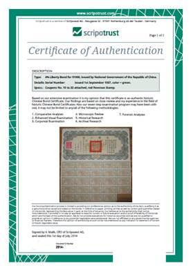 Scripotrust Certificate